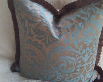 Unique vintage pillow with fringe, brown with blue designs