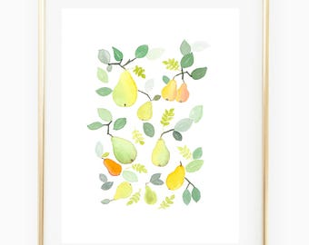 Pears - Watercolor Art Print