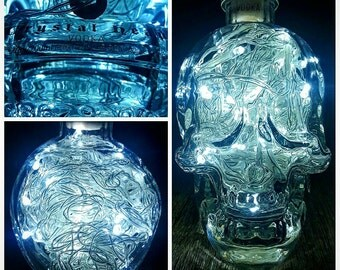 Crystal Head Vodka 70cl upcycled bottle light/ lamp