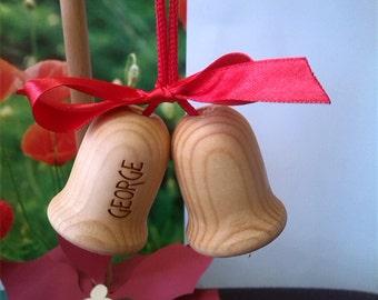 Wood Christmas Personalzied Bells