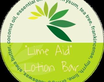 Lime Aid Lotion Bar #aromatherapy #tin #tea tree #helichrysum #frankincense #myrrh #lavender #lime #orange