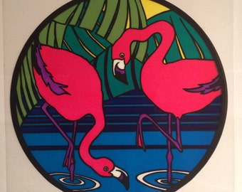 Sandylion vintage 1984 very rare large window sticker. flamingos