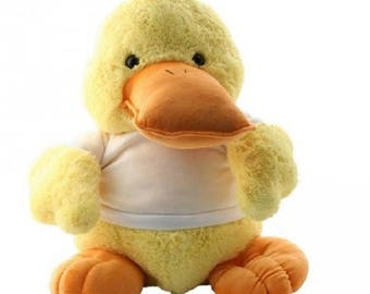 Duck soft toy with custom printed shirt - your text your design - perfect gift for all occasions!