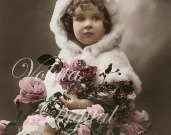 Adorable Girl With Roses and Holly branches. Digital download  -  Edwardian Vintage Postcard.