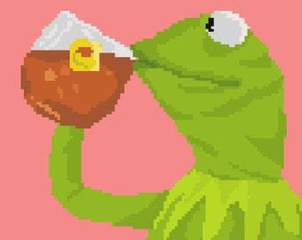Kermit the Frog Tea Pixel Art Sticker