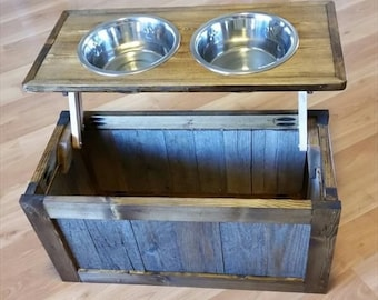 Rustic pet feeding box