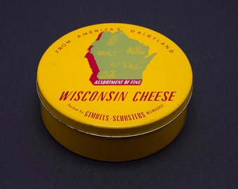 Bright Yellow Wisconsin Cheese Tin