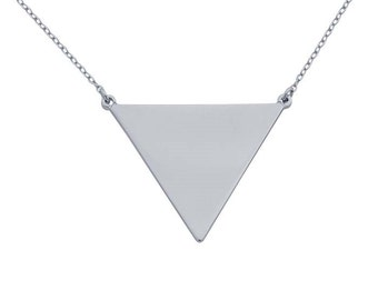 Sterling Silver Rhodium-Plated Solid Triangle Festoon Necklace