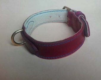 High quality double and entirely sewn hand leather collar