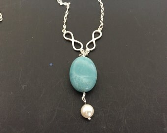 Hand crafted Peruvian Blue Opal and Freshwater Pearl SS necklace