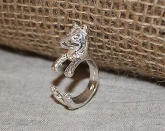 Silver dog ring