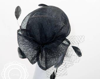 Alexandria J. Black Sinamay Veil Bows Women Dress Hats Evening Hats | 307859SV-BK