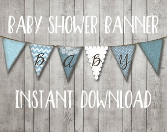 Baby Boy Shower Bunting Banner Baby Blue Burlap Chevron Polka Dot Rustic Printable Instant Download