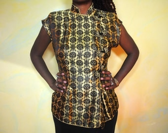 1960s Gold Qipao Blouse