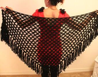 Black Triangle Shawl /Handmade shawl and warmer / Hand knit shoulder wrap / Winter knit shawl
