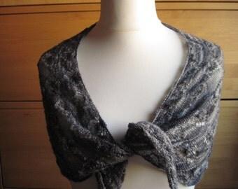 Lace cloth Alpaca cloth shawl scarf shawl knitting shawl knitting cloth Heather grey Alpaca
