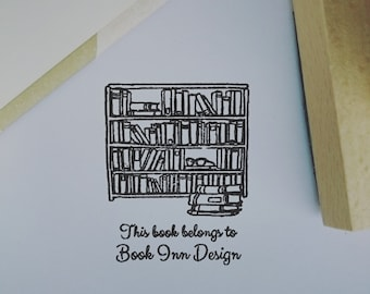 Exlibris - Personalised Library Book Stamp Bookshelf