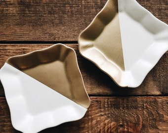 Small White and Gold dish set
