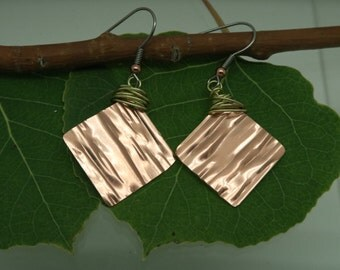 Copper Earrings, GRATEFUL, Colorado Copper, Mixed Metals