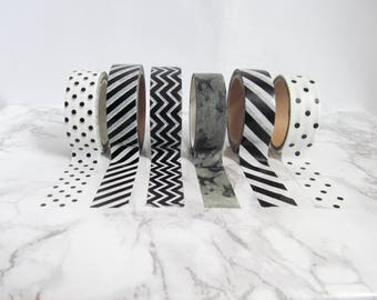 black and white washi tape samples