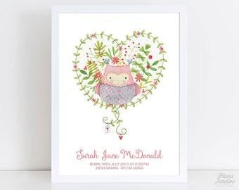 Birth Announcement / Nursery Print / Wall Art / Baby Name Print / Custom / Nursery Art / Printable / Digital / 8x10 / Owl / Kids Room