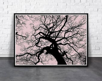 Tree Print, Scandinavian Print, Pink Tree Branches, Printable Art, Forest Wall Decor, Minimalist Woodland, Branches Silhouette, Modern Home