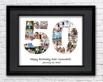 Digital File Personalized Birthday Gift, Number Photo Collage, 50th Anniversary, Custom Photo Collage, photo collage gift, 50th Birthday