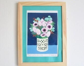 "Linocut in reduction ""Bouquet in sugar pot"""