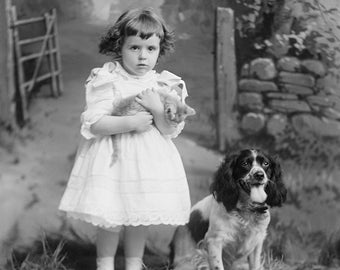 Photo of Springer Spaniel Dog and Girl with Pet Cat, Children's Photos, Gift For Her, Wall Decor, Art Prints, Girl's Decor