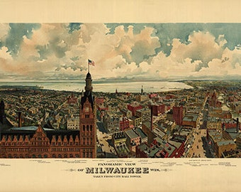 Milwaukee Panoramic Map, Bird's Eye View Maps, Vintage Maps, Pictorial Maps, Cartography, Lithograph, Milwaukee Wisconsin 1898