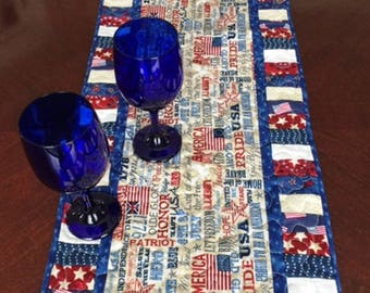 46 Inch Patriotic 4th of July Table Runner
