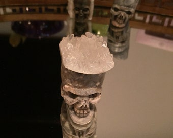 Carved skull quartz