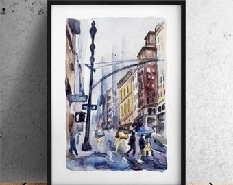City print /  New york New York print / New York City print  / New York poster /  New York watercolor / Office city print / instant download