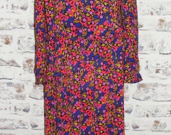 Size 12-14 extreme vintage 80s peplum dress long sleeve silky print (GQ06)