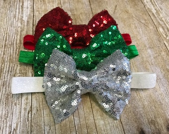 Christmas headband, christmas bow headband