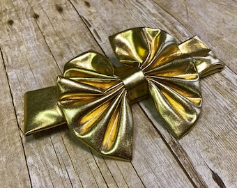 Metallic headband, metsllic messy bow hesdband