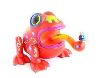 Wooden Red Frog