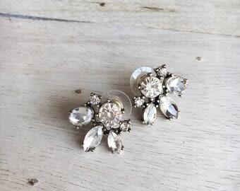 Rhinestone Cluster Stud Post Earrings