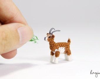 Tiny crochet Goat, Miniature brown and white Goat, Amigurumi animals