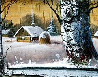 """Birch cork russian painting """"Calm bowery"""" eco gift"""