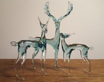Vintage crystal deer family