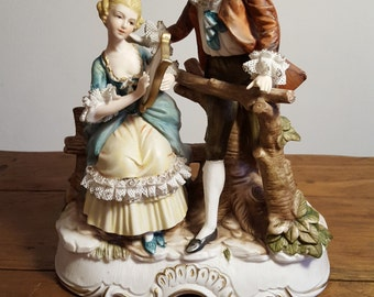 Vintage Dresden Lace Figurine Courting Couple