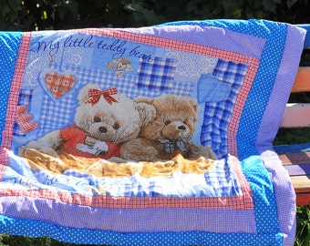 Baby quilt , Teddy bear blue , Teddy bear , Мишка тедди , детское лоскутное одеяло ,Baby Patchwork quilt, Baby Blanket, Quilt Baby