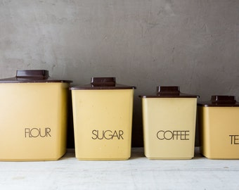 Set of 4 Vintage Canisters-Food Photography Props