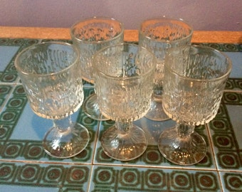 Retro, bark textured wine glasses, set of 5