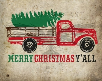 Christmas SVG Cut File | Red Christmas Truck and Tree svg | Red Truck svg | Vintage Red Truck svg | Christmas SVG | Merry Christmas Yall svg