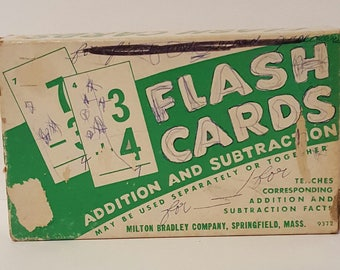 Vintage Flash Cards, Vintage Milton Bradley Flash Cards Set, Addition and Subtraction Math Cards, Milton Bradley Card Games Collectibles