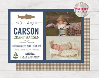 Boy Birth Announcement template, Photographer Birth Announcement, Fishing Birth Announcement, Instant Download