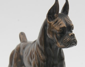 Boxer Standing Tall and Alert - Small Cold Cast Bronze Dog Statue