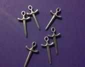 5pc silver mini silver sword charm